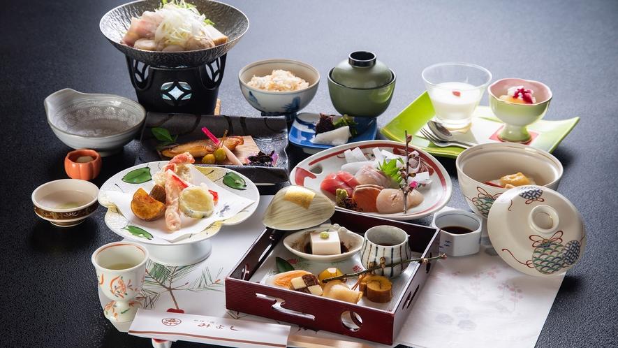 *【夕食一例】和風会席ならではの雅やかな味わいと、目にも楽しい彩の美食をご堪能下さい。