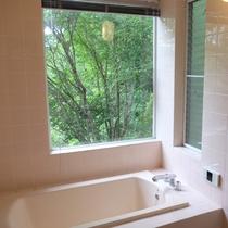 庭が見える窓と大き目のバスタブがあるバスルーム。