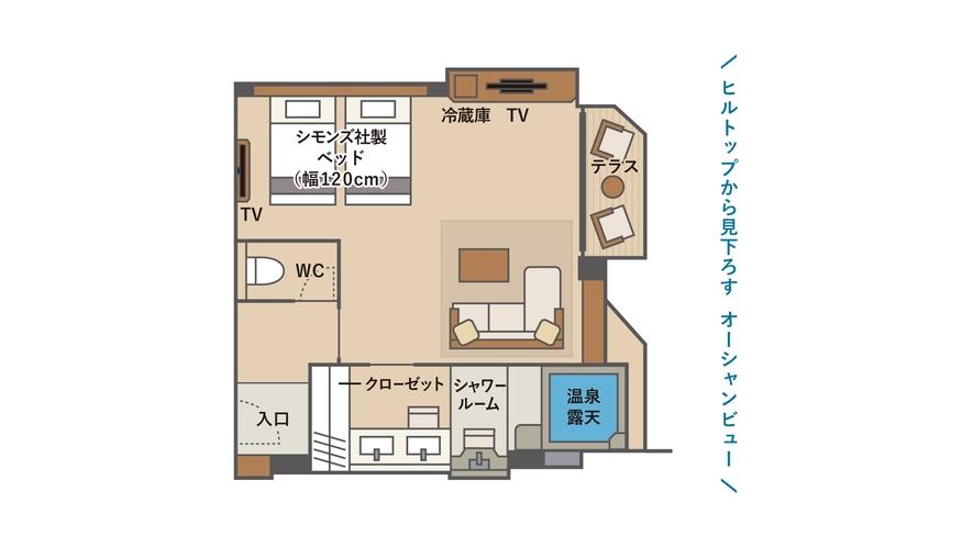 温泉露天 デラックステラスツインC(間取図)