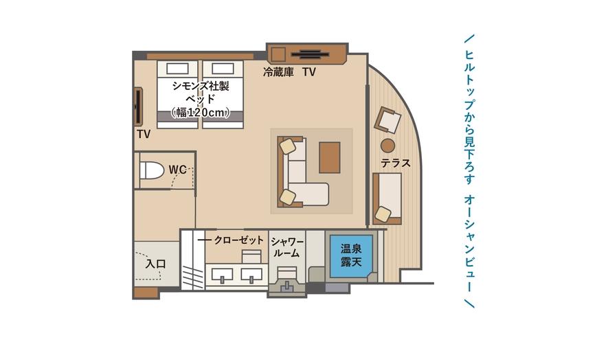 温泉露天 デラックステラスツインA2(間取図)