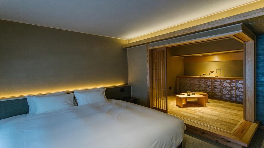 501号室 庭玉のベッドとなぐり床の和室
