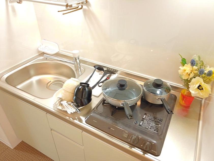 全室調理器具付き、お手軽に料理が作れます