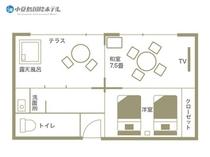 露天風呂付きエグゼクティブルーム 604・605号室見取り図