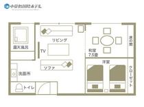 露天風呂付きエグゼクティブルーム 602・603号室見取り図