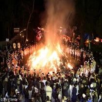 ◇お正月行事のどんと祭!!裸祭りは有名ですネ。