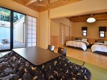 露天風呂付離れ客室。和室と寝室の2間から構成されています。