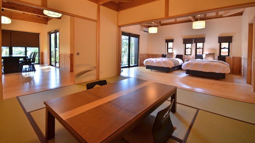【特別室つわぶき/春~夏季】和室、寝室、ダイニングの3間から構成されています
