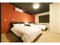 【寝室1】ダブルベッド ツインルーム