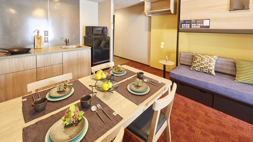 全室にキッチンが付き、暮らすようにお過ごしいただけるアパルトホテル