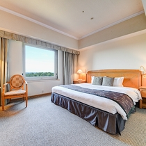 *【部屋(スタンダードダブル)】美しいホテル庭園と、四季を感じる広大な森を眺めることができます