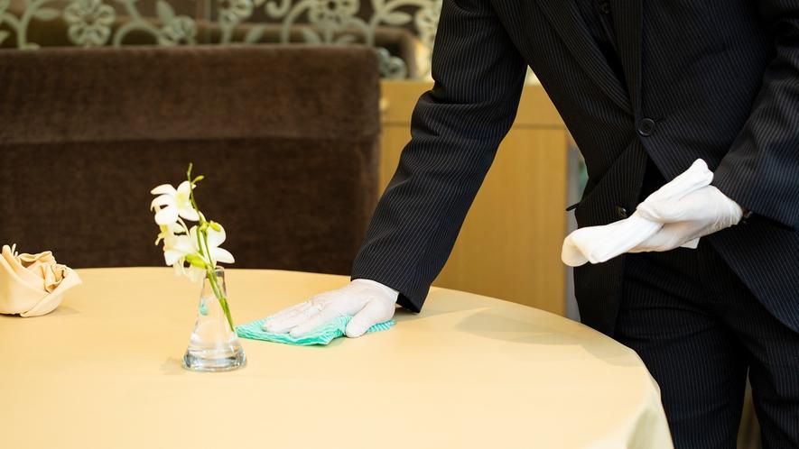 **【コロナ対策:中国料理 花林(一例)】テーブルは、お客様の着席前に消毒しております