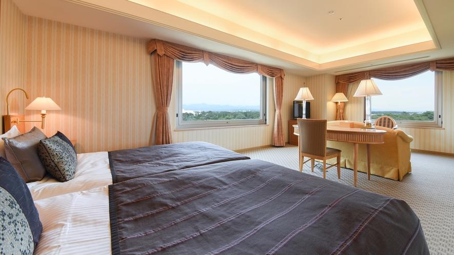 **【部屋(コーナーツイン)】昭和の森をベッドから眺めることができます。