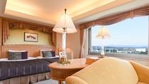 **【部屋(コーナーツイン)】緑と共存する当館のポリシーを客室でも感じてもらえるように設計