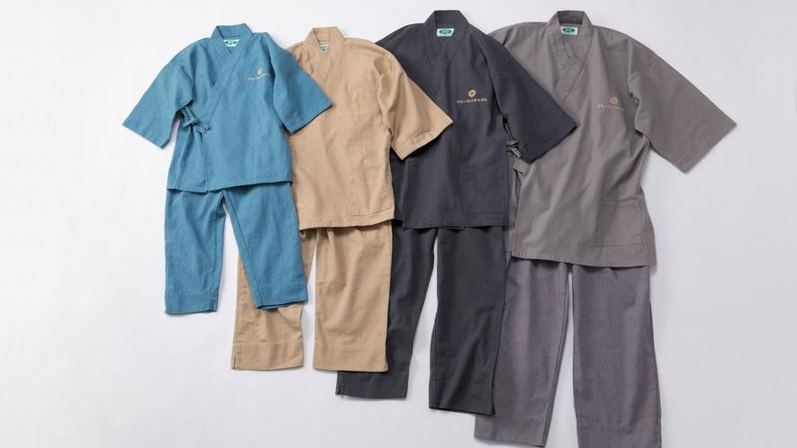 <客室アメニティ>作務衣 お子様用・お体の大きい方用の作務衣は色浴衣コーナーにてご準備しています。