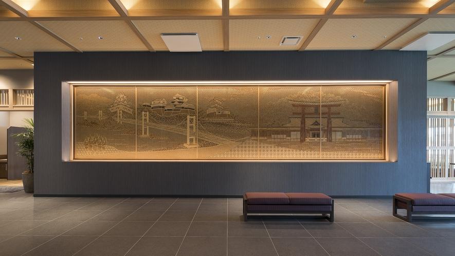 <ロビー 組子細工>ロビーには広島を表した「組子細工」を設置しています。