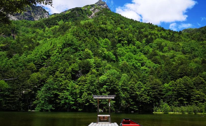 夏は萌える緑色に包まれる明神岳。晴れた日の青空とのコントラストが美しいです。