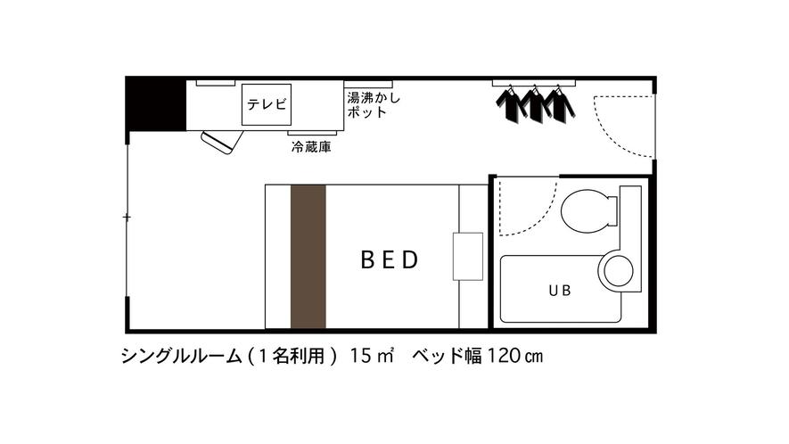 シングルルーム1名間取り図