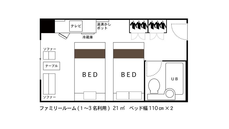 ツインルーム3名(ファミリーツイン140cm+110cmベッド)