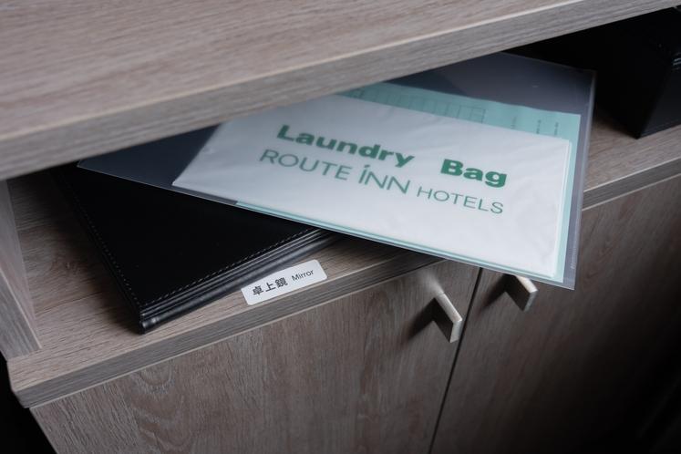 客室 卓上鏡・ランドリーバッグ