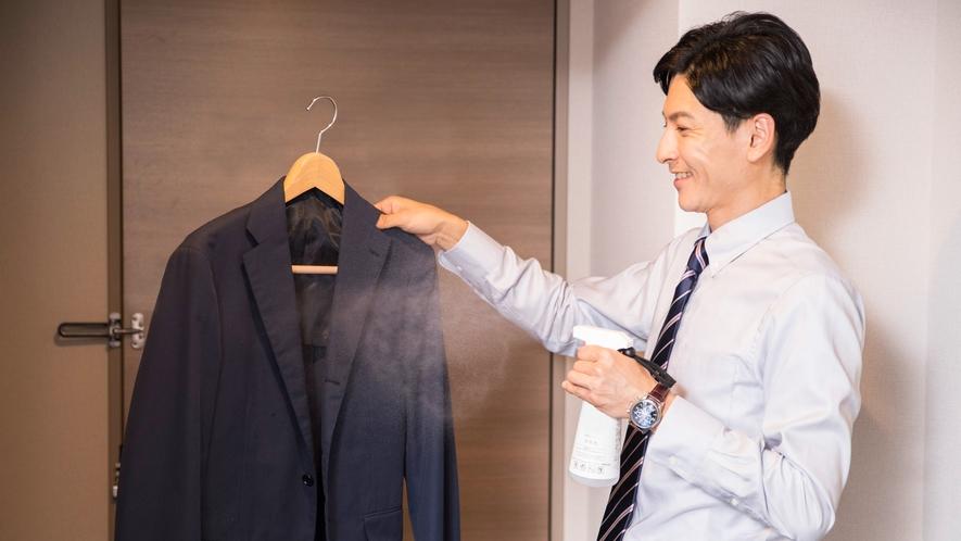 【客室】衣類にも使える消臭スプレー清水香をご用意