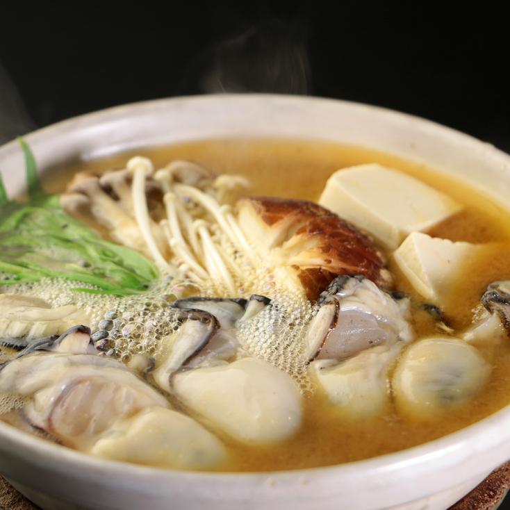 自家製の赤みそを使用した牡蠣の小鍋