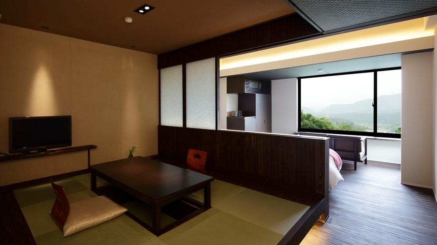 モダンな空間を演出する和洋室40平米(和室スペース)