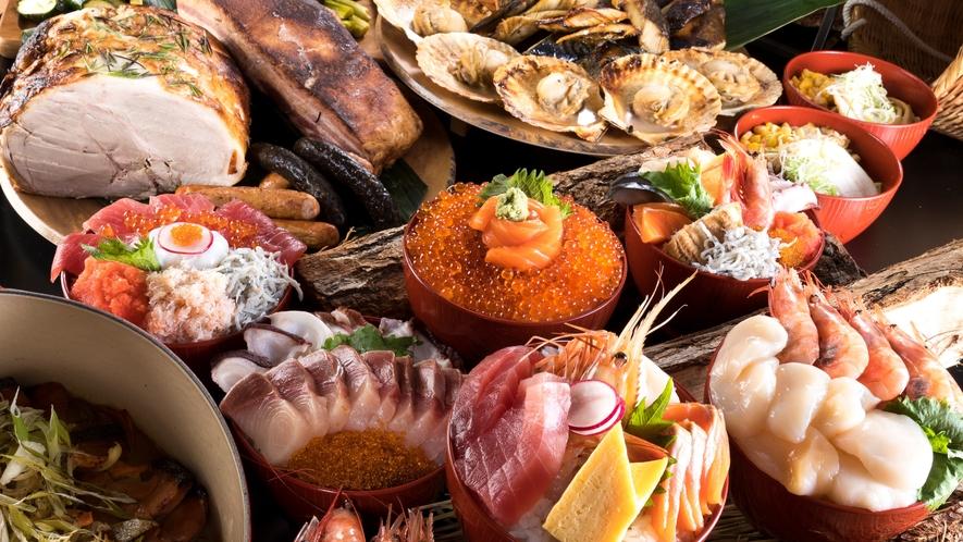 道南の食材を中心とした夕食は約150種類で構成