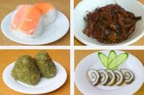 富山名産メニュー『ます寿しおにぎり』『ホタルイカ甘露煮』『黒とろろおにぎり』『昆布巻き蒲鉾』