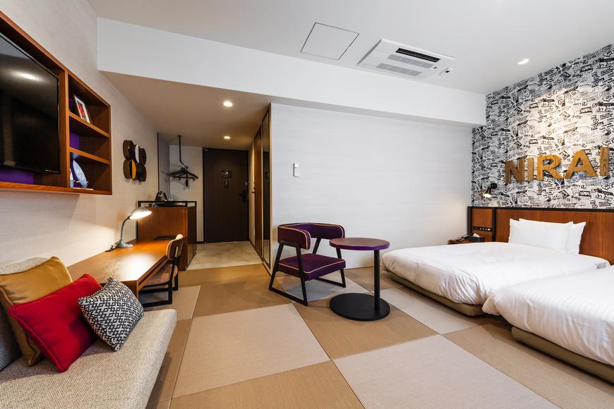 全室畳敷のツインベッドルーム