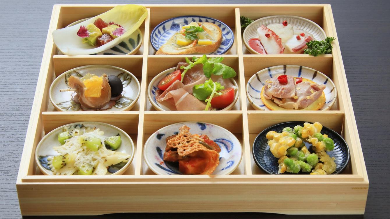 【前菜】湯河原や伊豆の食材をふんだんに使用した畑の皿・海の皿・山の皿