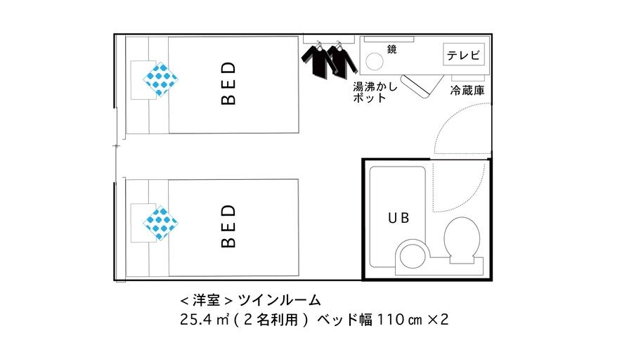 【間取り図】ツイン★2名【110cm×2台】