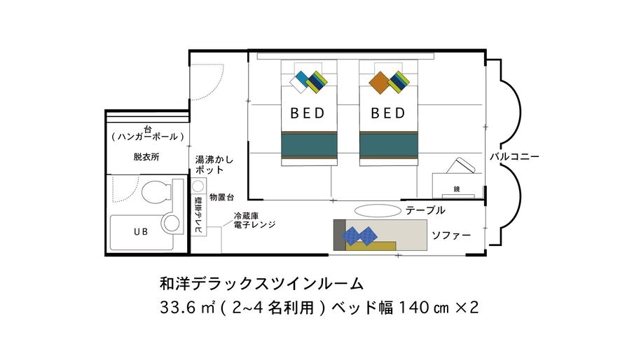 【間取り図】和洋DXツイン★2〜4名【140cm×2台】