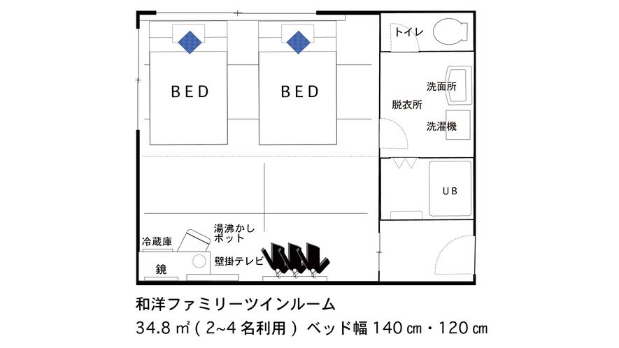 【間取り図】和洋ファミリーツイン★2〜4名【120cm/140cm】
