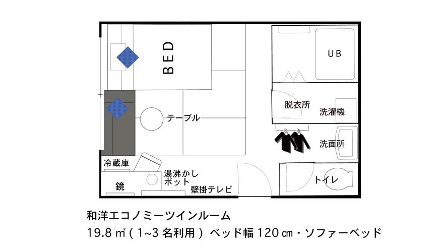 【間取り図】和洋エコノミ—ツイン★1〜3名【120cm/100cm】