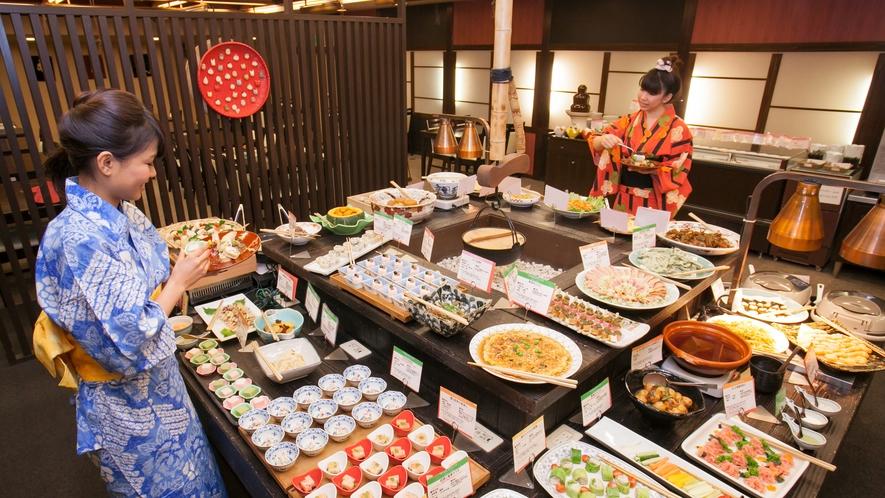 夕食(ビュッフェ)◆游月山荘は「ビュッフェ」「部屋食」、プランによってお選び頂けるのが魅力です♪