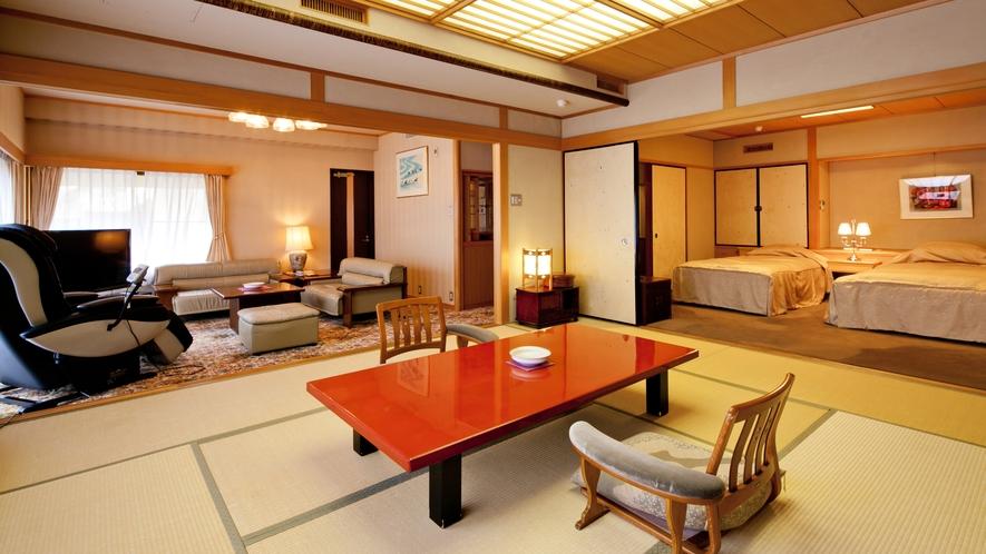 露天風呂付◆貴賓室 曲水亭-夕顔-◆和室(10帖)と洋室(8.8帖)の、和洋室タイプのお部屋です。