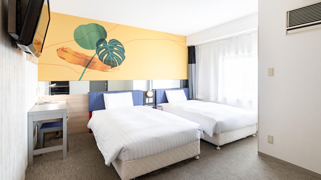 【ツインスタンダード】ベッド幅120cm2台◆広さ22平米◆洗い場付きバスルーム◆個別空調
