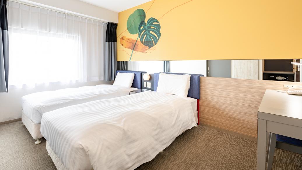 【ツインエコノミー】ベッド幅100cm2台◆広さ17平米◆洗い場付きバスルーム◆個別空調