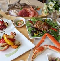 当館、1番人気のお夕食フルコース♪海の幸やハワイアンフードをお楽しみ下さい♪