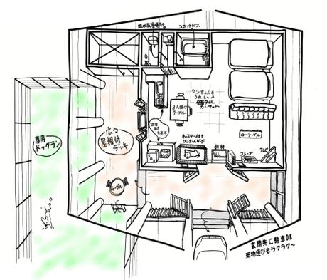 愛犬と一緒 貸切一戸建て別館ログコテージ【ナチュール棟】おすすめ2食付プラン!専用ドッグラン付き