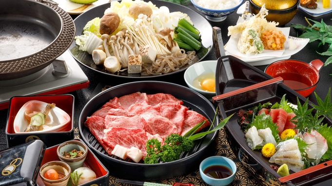 【 GO! 東海 】【お値打ち価格で幡豆和牛を楽しむ☆すき焼きコース】地魚の舟盛り付き!家族旅行に♪