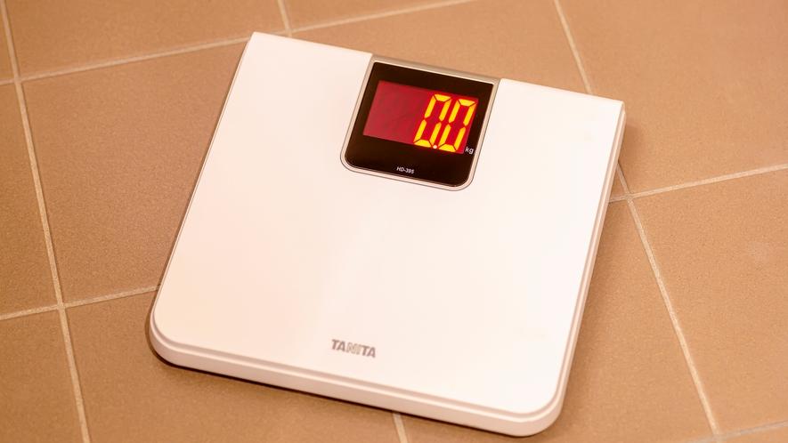 全てのお部屋に体重計を準備しております。お出かけ先でもヘルスケア