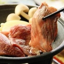 和食夕食♪信州牛の陶板焼き