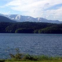 ◇青木湖の脇から見た白馬三山