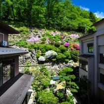 【館内で体験】烏帽子山の緑とコラボする、当館自慢の中庭。4月~5月はツツジが美しく庭を彩ります