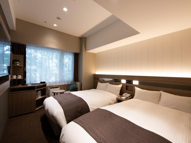 【モデレートウエストツイン】新設のスタイリッシュな客室は機能的で洗練されたご滞在を提供いたします。