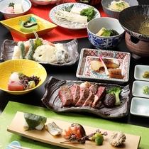 【ご夕食】サーロインステーキ&天ぷら盛り合わせ付き季節の京会席※イメージ