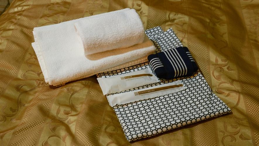 *【アメニティ】お部屋には浴衣やタオルなどをご準備しております。