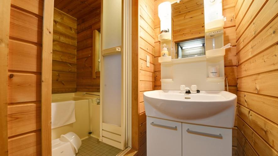 *【ログハウス/S】洗面台完備で、朝の身支度にも便利にお使い頂けます。