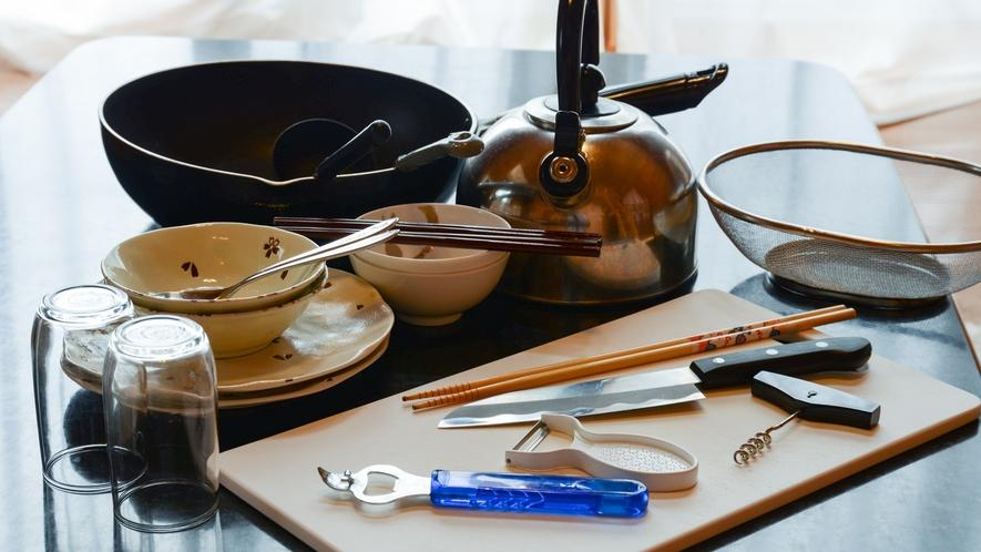 *【ログハウス※Kタイプ以外】調理道具は一式こちらで取り揃えております。